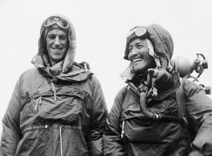 Sardar Tenzing Norgay of Nepal and Edmund P. Hillary of New Zealand, left, show the kit they wore when conquering the world's highest peak, the Mount Everest, on May 29, at the British Embassy in Katmandu, capital of Nepal, in this June 26, 1953 file photo. Hillary, the unassuming beekeeper who conquered Mount Everest to win renown as one of the 20th century's greatest adventurers, has died, New Zealand Prime Minister Helen Clark announced Friday. He was 88. (AP Photo, File)