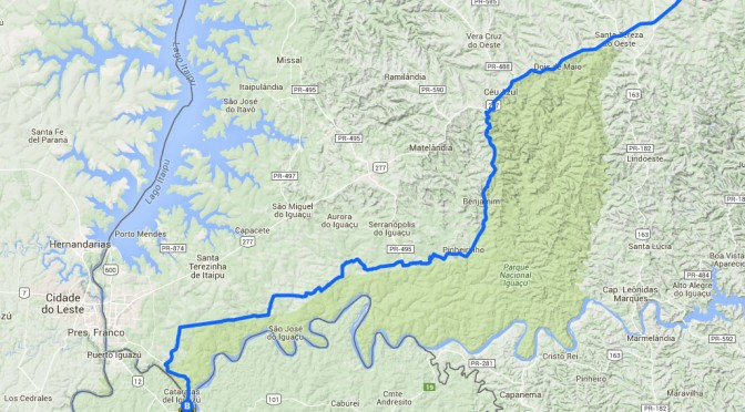 Mapa Ciclovia Cascavel x Foz do Iguaçú